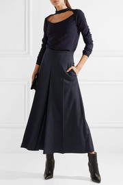 Alexander McQueen Cropped pleated wool-crepe wide-leg pants