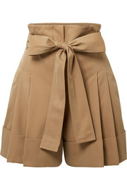 Belted pleated cotton-gabardine shorts