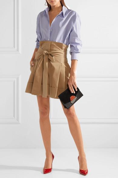 Alexander McQueen Shorts aus Baumwoll-Gabardine mit Falten und Bindegürtel
