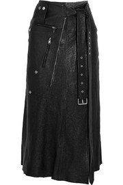 Alexander McQueen Zip-embellished textured-leather midi skirt