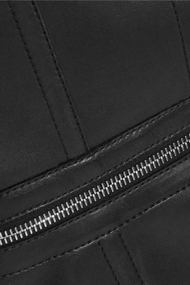 Alexander McQueen Bustier-Oberteil aus Leder mit Reißverschlüssen