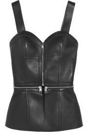 Zip-embellished leather bustier top