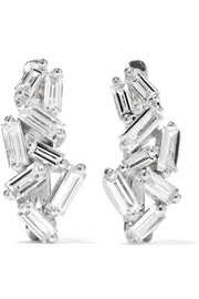 Huggie 18-karat white gold diamond earrings