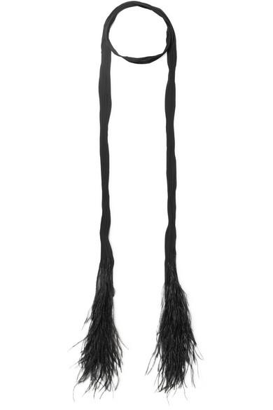 Feather Trimmed Plissé Silk Chiffon Scarf by Saint Laurent