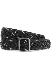 Saint Laurent Studded woven leather belt