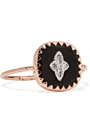 Pierrot 9-karat rose gold, silver, bakelite and diamond ring