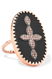 Bowie N°3 9-karat rose gold, sterling silver, bakelite and diamond ring