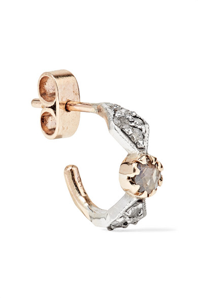 Moon 9-karat Gold, Crystal And Diamond Earring - one size Pascale Monvoisin