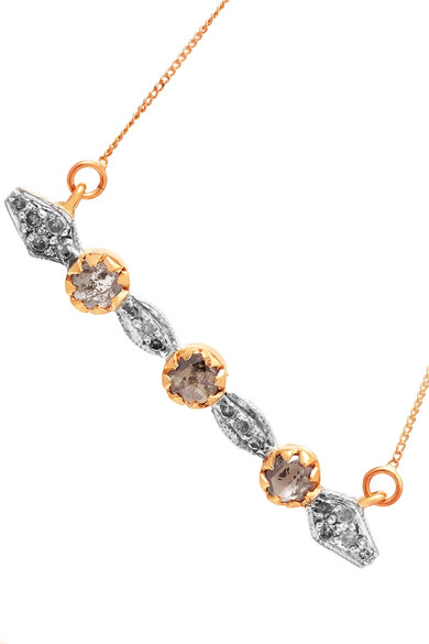 Adele 9-karat Gold, Sterling Silver And Diamond Necklace - one size Pascale Monvoisin