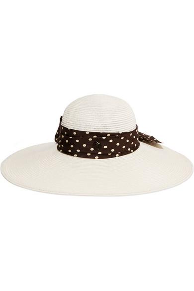 Blanche Polka-Dot Silk Faille-Trimmed Hemp Sunhat in Ivory