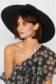 Maison Michel Pina embellished crochet-trimmed straw hat