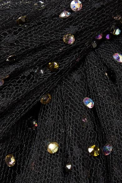Aaa Qualität Jason Wu Kristallverzierte Robe aus Tüll mit Point d'Esprit Verkauf Schnelle Lieferung MZxzbt