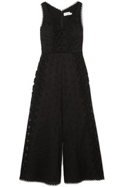 Zimmermann Broderie anglaise cotton-trimmed linen jumpsuit