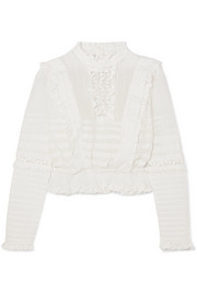 Zimmermann Helm lace and mesh-trimmed ruffled cotton top