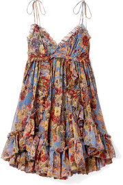 Zimmermann Lovelorn ruffled floral-print crinkled silk-georgette mini dress
