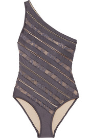 Zimmermann Lovelorn one-shoulder lace-paneled swimsuit