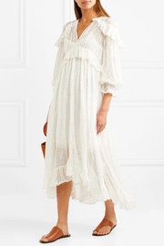 Lovelorn ruffled broderie anglaise silk-georgette midi dress