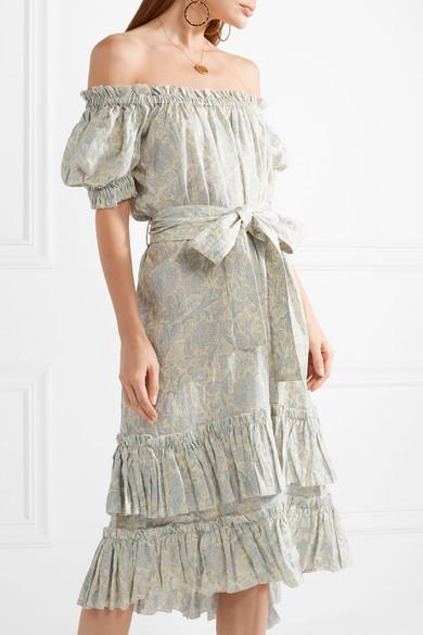 Freiheit In Deutschland Zimmermann Helm schulterfreies Kleid aus gestuftem Leinen mit Print Neueste Online-Verkauf Finden Große tdsc8