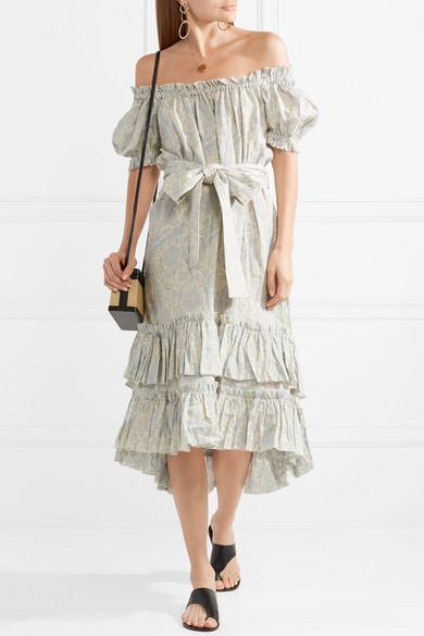 9d3787b5f0fd0 Helm off-the-shoulder tiered printed linen dress