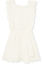 Zimmermann Kali Daisy broderie anglaise cotton and lace playsuit