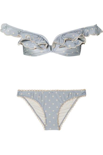 Zimmermann Helm schulterfreier Bikini mit Polka-Dots