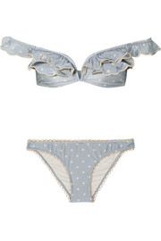 Zimmermann Helm off-the-shoulder polka-dot bikini