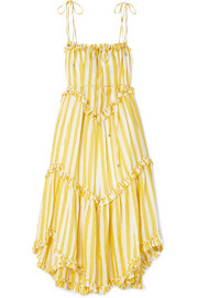 Zimmermann Lumino asymmetric ruffled striped linen midi dress