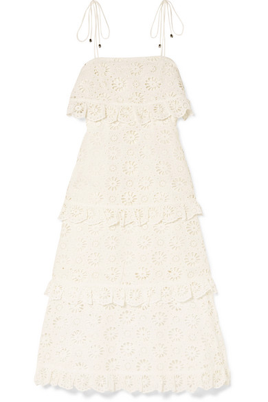 Online Best Place Cheap Online Lumino Daisy Broderie Anglaise Cotton-voile Dress - White Zimmermann Cost Cheap Sale The Cheapest 4PG3DevLVa