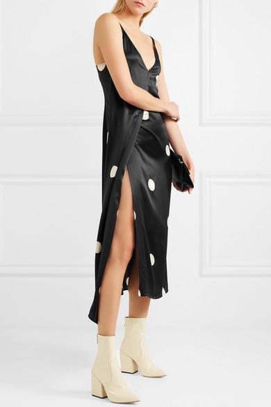 Petar Petrov Dee asymmetrisches Kleid aus Seidensatin mit Polka-Dots