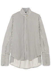 Evike striped silk crepe de chine blouse
