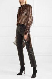 Ethel leather-trimmed striped silk-blend lamé blouse