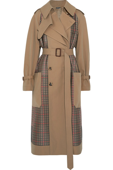 Alexander McQueen Trenchcoat aus Gabardine und Tweed mit Glencheck-Muster
