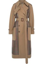Gabardine and Prince of Wales checked tweed trench coat