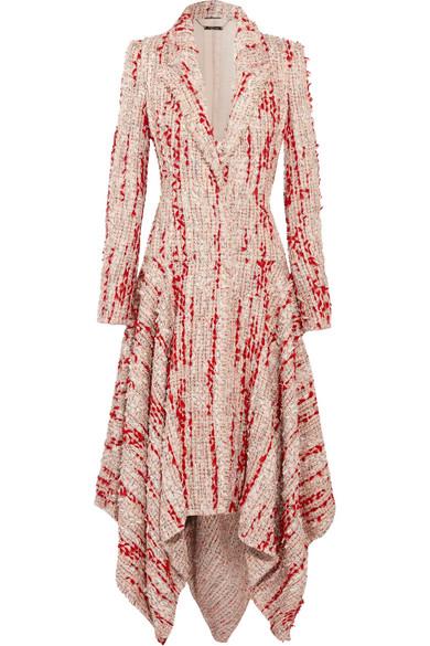 Alexander McQueen Asymmetrischer Mantel aus Tweed mit Fransen