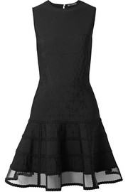 Alexander McQueen Mesh-trimmed jacquard-knit mini dress