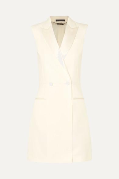 Alexander McQueen Minikleid aus Cady aus einer Wollmischung mit Satinbes盲tzen