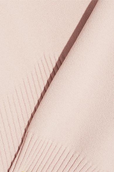 Alexander McQueen Schulterfreies Midikleid aus geripptem Jersey und plissiertem Chiffon