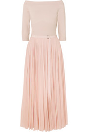Alexander McQueen Off-the-shoulder ribbed jersey and plissé-chiffon midi dress