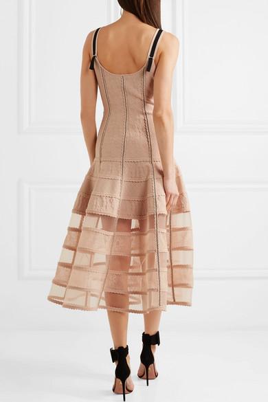 Alexander McQueen Kleid aus Stretch-Jacquard mit Tülleinsätzen