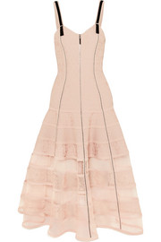 Alexander McQueen Tulle-paneled stretch-jacquard dress