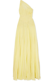 Alexander McQueen One-shoulder plissé silk-chiffon gown