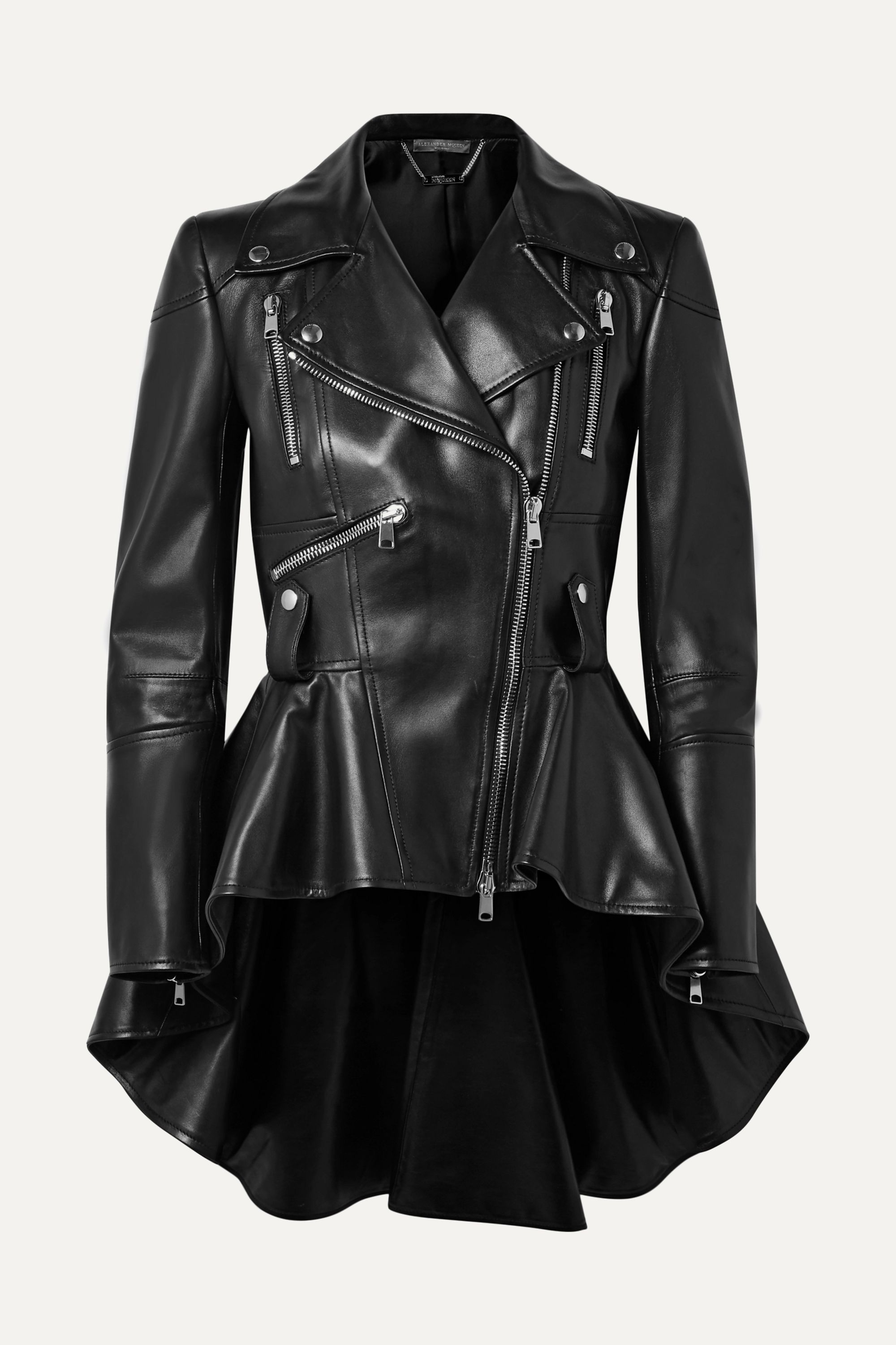 Alexander McQueen peplum biker jacket in black leather