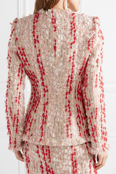 Alexander McQueen Tweed-Jacke mit Fransen