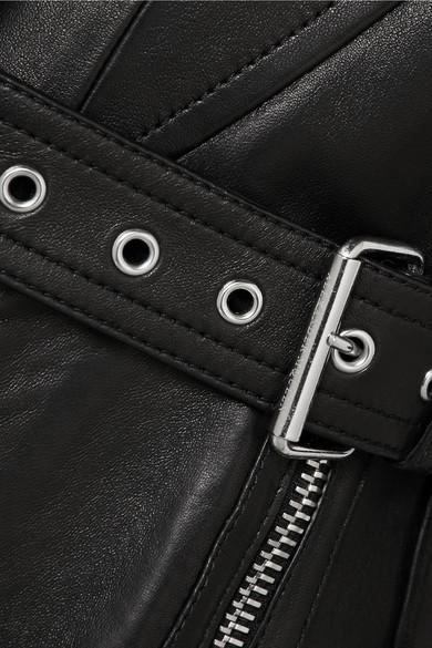 Alexander McQueen Bikerjacke aus Leder mit Gürtel