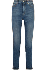 Alexander McQueen Striped high-rise skinny jeans