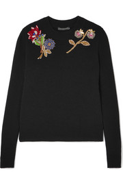 Alexander McQueen Embellished embroidered wool sweater