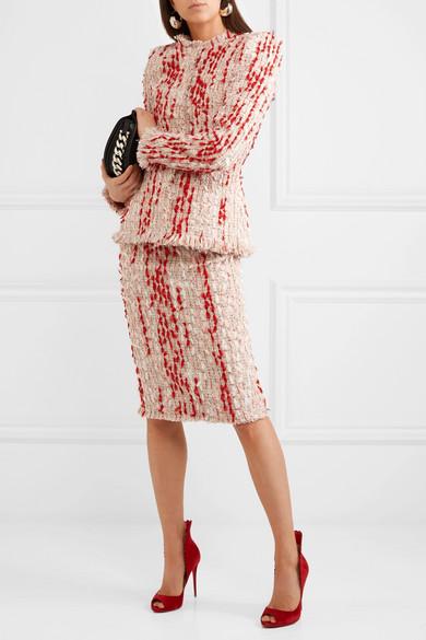 Alexander McQueen Bleistiftrock aus Tweed mit Fransen