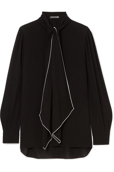 Alexander McQueen - Pussy-bow Silk-georgette Blouse - Black