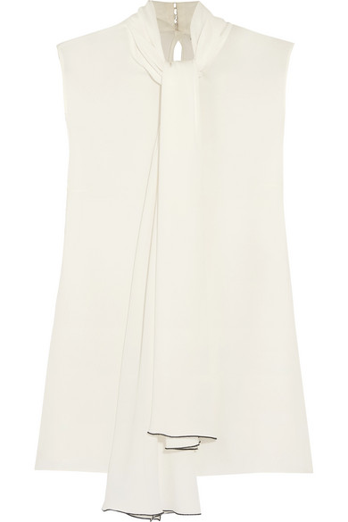 Alexander McQueen - Pussy-bow Silk-georgette Top - Ivory