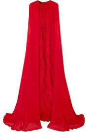 Cape-effect silk-georgette gown